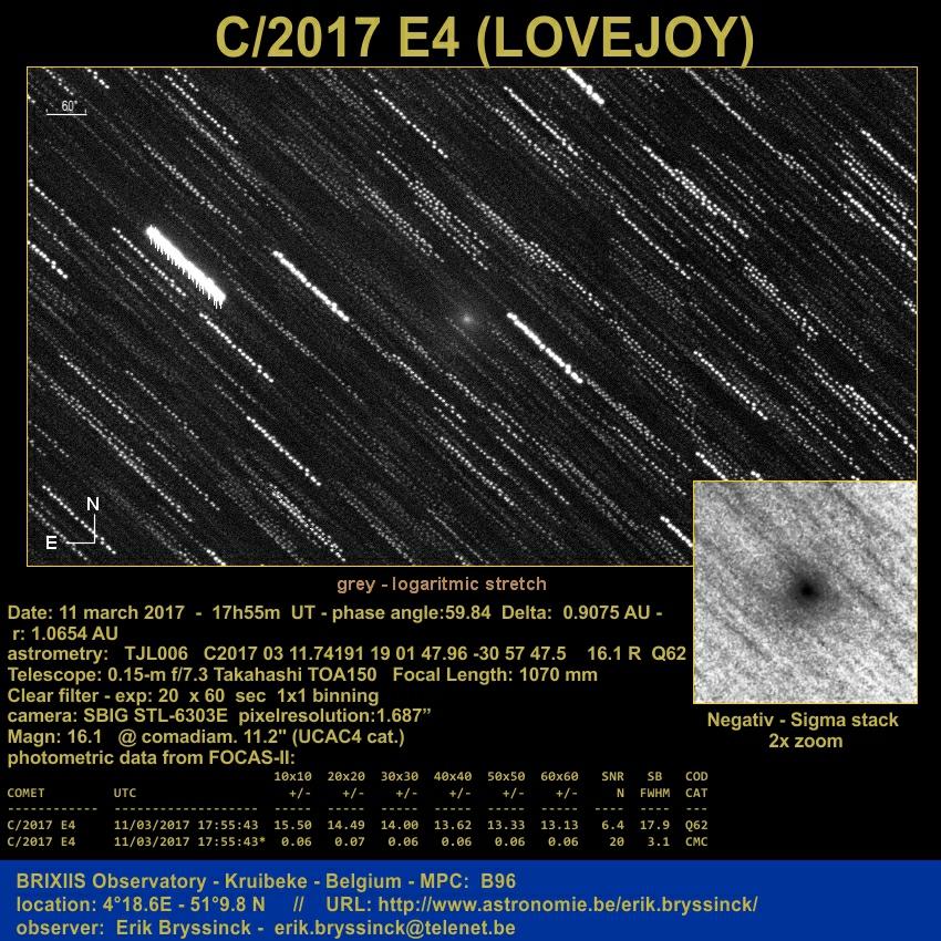 Comet C 2017 E4 Lovejoy 11 March 2017